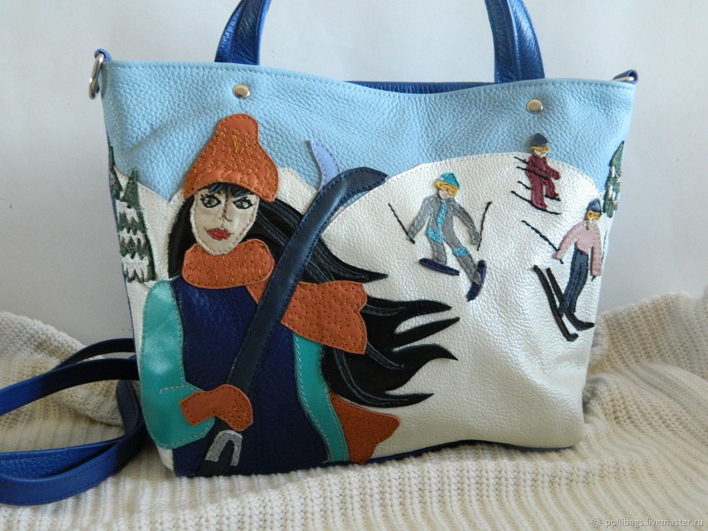 Bag leather womens bag with applique skier u2013 shop online on