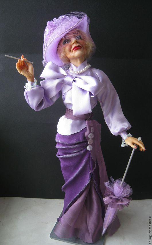 Коллекционные куклы ручной работы. Ярмарка Мастеров - ручная работа. Купить Красотка Сью. Handmade. Сиреневый, кружевной хонтик