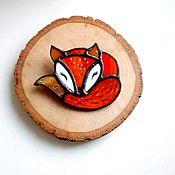 Украшения ручной работы. Ярмарка Мастеров - ручная работа Брошь лиса, лисичка оранжевая, рыжая  витражная из стекла для девушки. Handmade.
