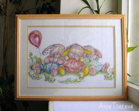 """Животные ручной работы. Ярмарка Мастеров - ручная работа. Купить Картина """"Спящие""""/ """"Sleeping"""". Handmade. Вышивка крестом, подарок ребенку"""