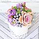 Букеты ручной работы. Винтажный букет с розами, маттиолой и брунией в молочнике. Tanya Flower. Интернет-магазин Ярмарка Мастеров. Бруния