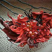 """Украшения ручной работы. Ярмарка Мастеров - ручная работа Брошь-заколка """"дама в красном"""". Handmade."""