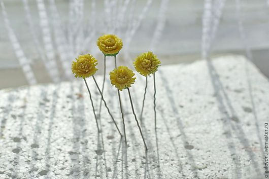 """Заколки ручной работы. Ярмарка Мастеров - ручная работа. Купить Шпильки  """"Цветочки полевые"""". Handmade. Комбинированный, ромашки, цветы"""