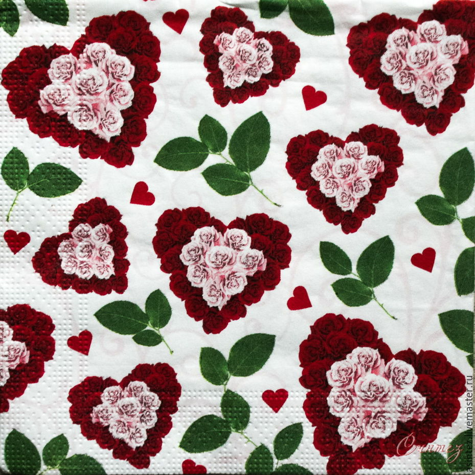 Napkins for decoupage floral hearts print, Napkins for decoupage, Moscow,  Фото №1