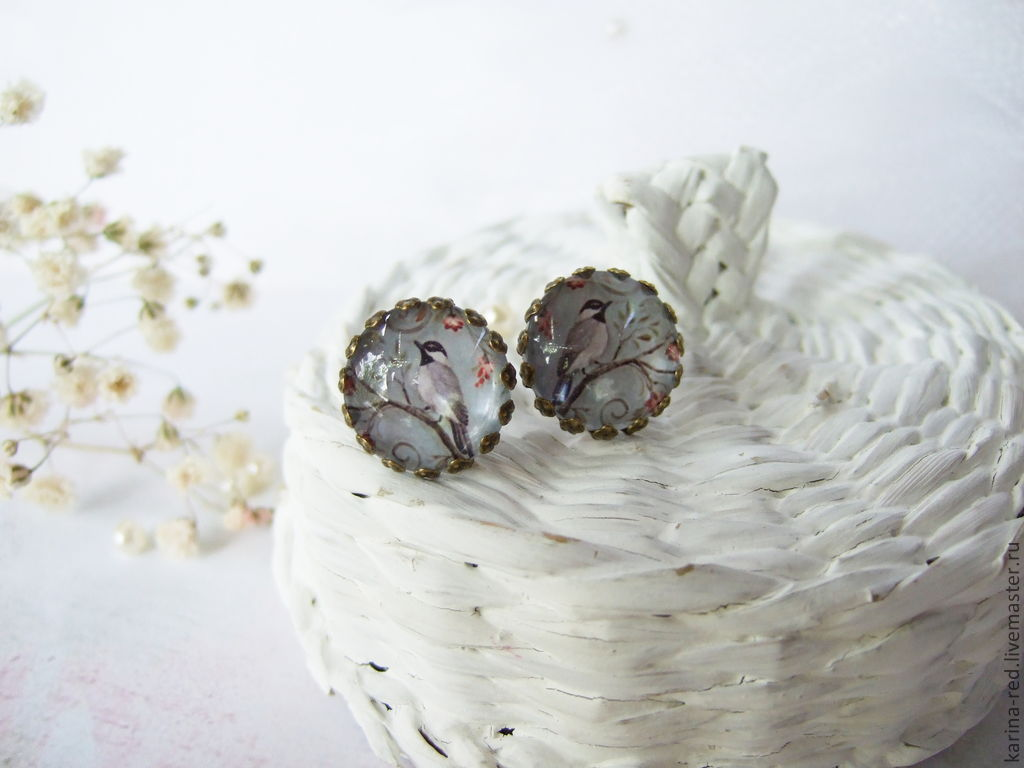 buy vintage handmade jewelry in stock and for the order, the gift shop and to buy jewelry stud earrings with birds delicate romantic earrings epoxy jewelry boho style jewelry