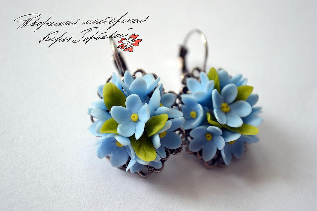 earrings 'forget-me-nots', Earrings, Vladivostok,  Фото №1