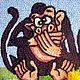 Животные ручной работы. Картина вязанная из пряжи Обезьяны - народная мудрость 30 х 60 см.. Маскаева Ольга (maskaevadecor). Интернет-магазин Ярмарка Мастеров.