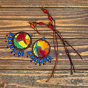 """Украшения ручной работы. Ярмарка Мастеров - ручная работа текстильные серьги """"Африка"""". Handmade."""