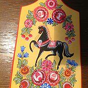 Русский стиль handmade. Livemaster - original item cutting board gorodetsky horse. Handmade.