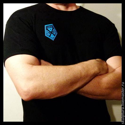 """Аппликации, вставки, отделка ручной работы. Ярмарка Мастеров - ручная работа. Купить Нашивка (шеврон) по игре """"x -com enemy unknown"""" голубая. Handmade."""