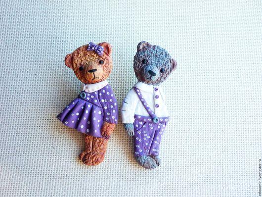 броши `мишки тедди Лия и Дёма `