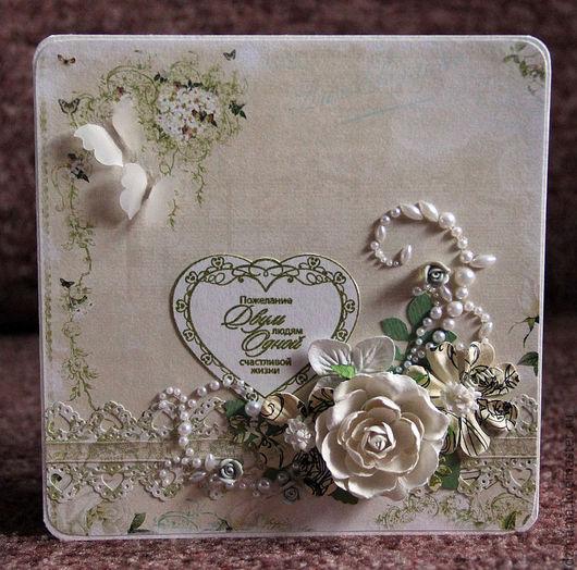 Свадебные открытки ручной работы. Ярмарка Мастеров - ручная работа. Купить открытка свадебная Белые розы. Handmade. Салатовый