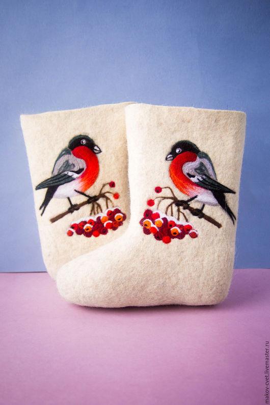 """Обувь ручной работы. Ярмарка Мастеров - ручная работа. Купить Валенки """"Снегирь на рябинке"""". Handmade. Валенки, подарок, птица на ветке"""