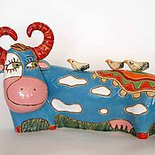 Сувениры и подарки handmade. Livemaster - original item Ceramic cow