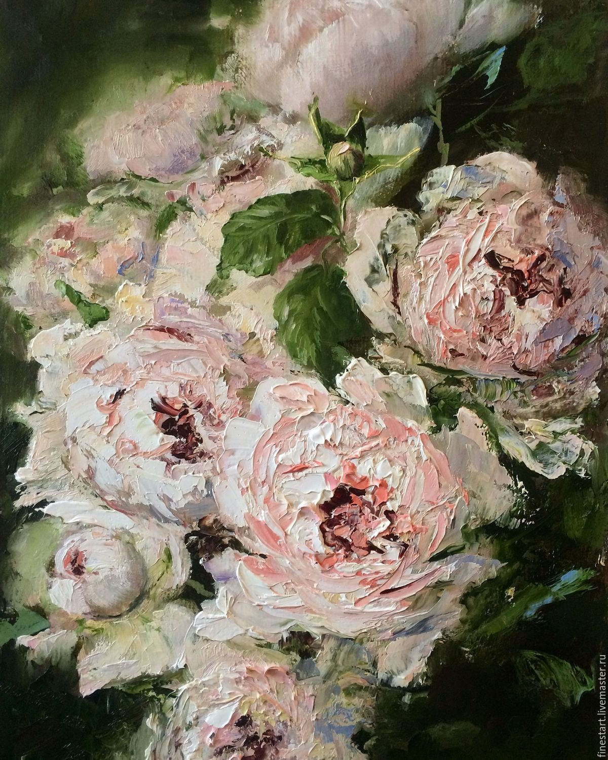 Oil painting of roses impressionism flowers shop online for How to paint flowers with oil paint