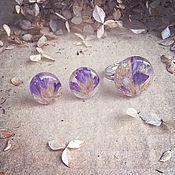 Украшения ручной работы. Ярмарка Мастеров - ручная работа Комплект с фиолетовыми цветами. Handmade.