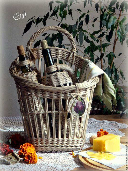 """Корзины, коробы ручной работы. Ярмарка Мастеров - ручная работа. Купить набор корзинка и 2 бутылки оплетенные """"Очарование Тосканой"""". Handmade."""