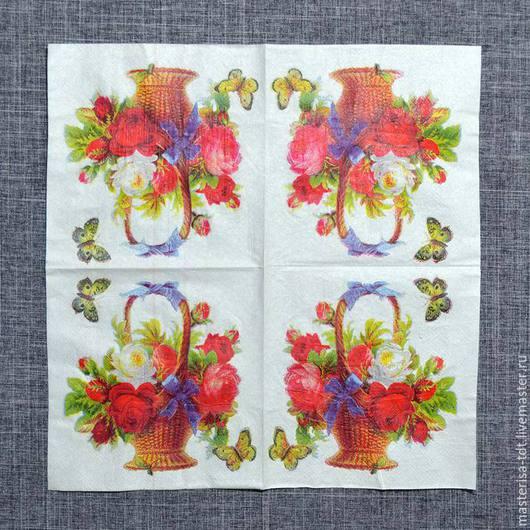 СФ-335454. Декупажная салфетка `Корзинка цветов`. Салфетка предназначена для декорирования различных поверхностей в технике декупаж.
