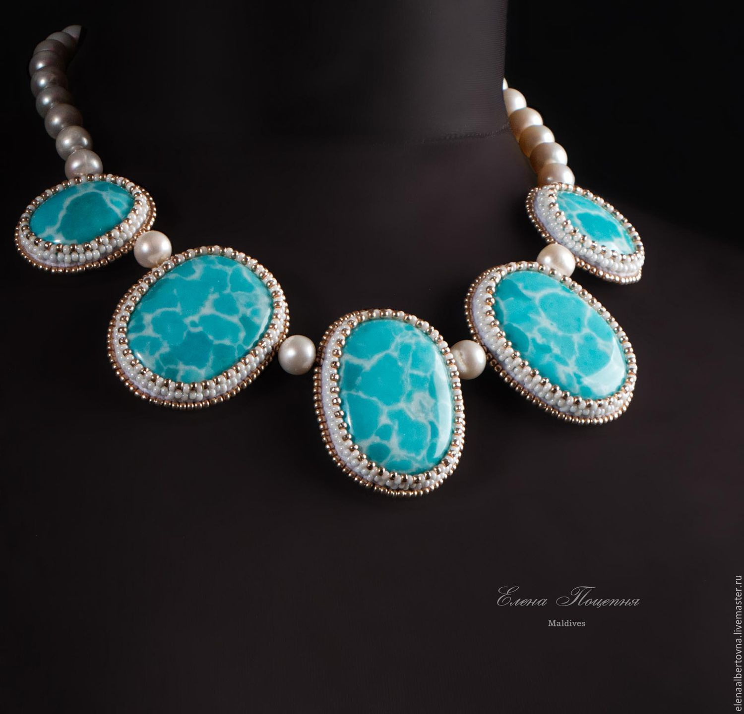Necklace handmade. To order blue choker Maldives. Elena Piana. Fair Masters. Turquoise - blue necklace. Beaded embroidery. turquoise blue larimar. The ocean. White Pearl. White beads.