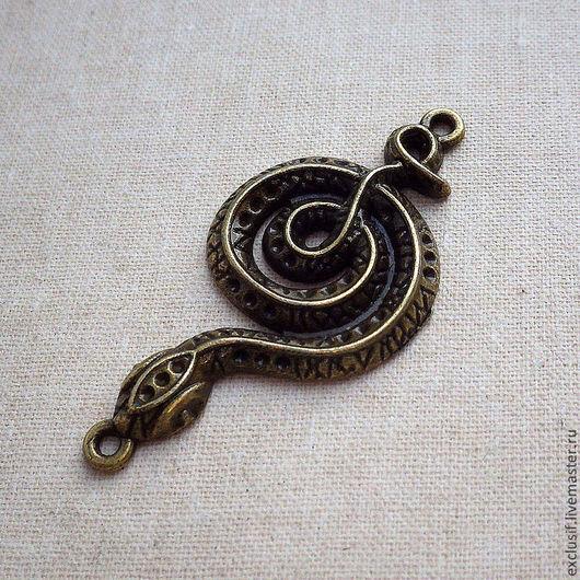 Для украшений ручной работы. Ярмарка Мастеров - ручная работа. Купить Подвеска коннектор для кулона змея. Handmade. Подвеска
