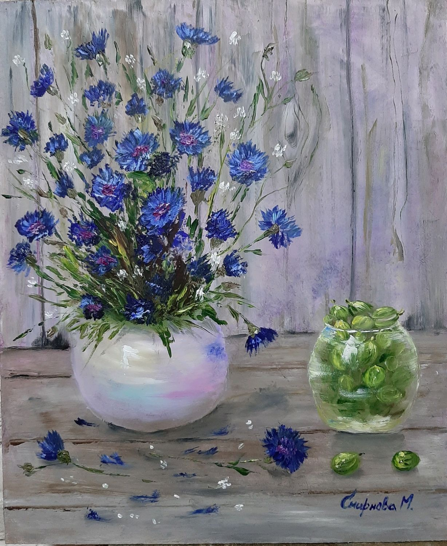 Author's painting oil / hardboard Cornflowers, Pictures, Belgorod,  Фото №1