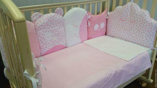 """Для новорожденных, ручной работы. Ярмарка Мастеров - ручная работа. Купить Комплект в кроватку """"Ночка"""". Handmade. Комбинированный, кпб, розовый"""