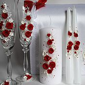 Свадебный салон ручной работы. Ярмарка Мастеров - ручная работа Свадебные бокалы и свечи.. Handmade.