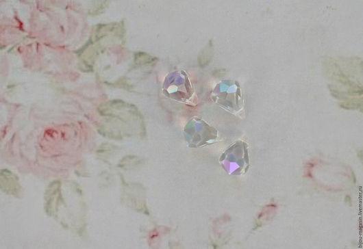 Для украшений ручной работы. Ярмарка Мастеров - ручная работа. Купить Винтажные подвески кристаллы 12х9 мм. цвет прозрачный радужный. Handmade.