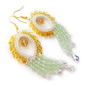 handmade. Livemaster - original item Mint waterfall earrings with Swarovski crystals. Handmade.