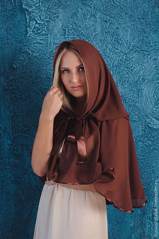 """Шали, палантины ручной работы. Ярмарка Мастеров - ручная работа. Купить платок в храм """"Кристина"""". Handmade. Коричневый, подарок крестной"""