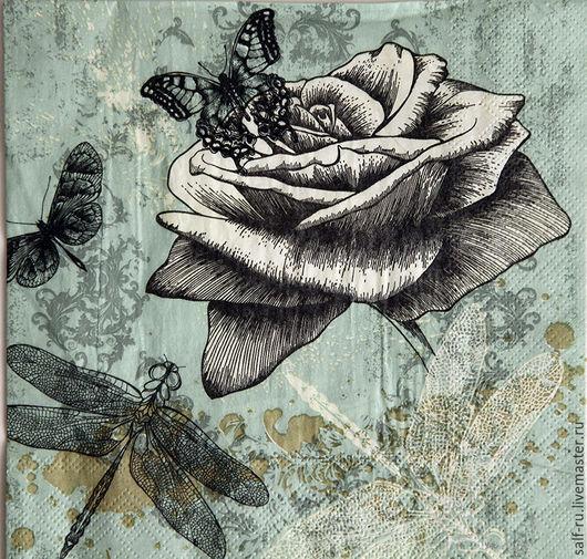 Декупаж и роспись ручной работы. Ярмарка Мастеров - ручная работа. Купить РЕДКАЯ!!! Салфетка Роза,стрекоза, бабочки на голубом. Handmade.