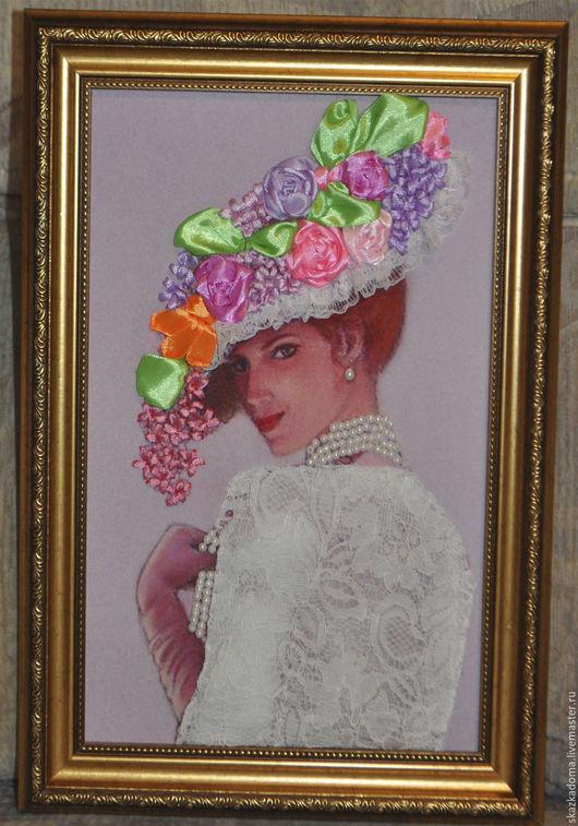 """Люди, ручной работы. Ярмарка Мастеров - ручная работа. Купить Картина с вышивкой  лентами по принту """"Дама в шляпке"""". Handmade."""
