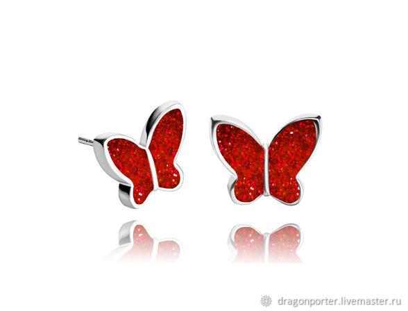 Earrings handmade. Livemaster - handmade. Buy Stud earrings bright red butterfly stylish gift 'Ruby sunset.Earrings