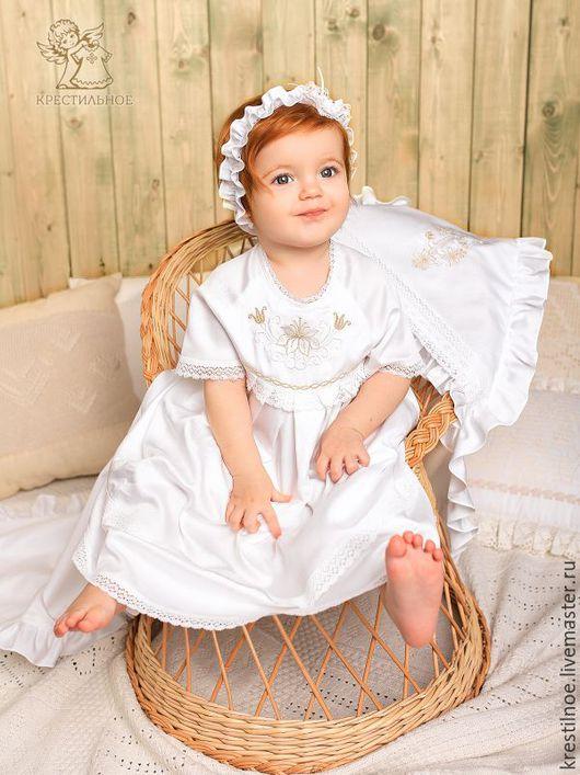 Крестильные принадлежности ручной работы. Ярмарка Мастеров - ручная работа. Купить Крестильное платье Елизавета, есть чепчик. Handmade. тенсел