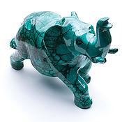 Статуэтка слона из натурального малахита. Ручная работа