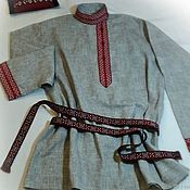 Русский стиль handmade. Livemaster - original item Shirt in Russian style blouse made of linen, cotton. Handmade.