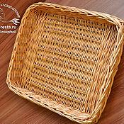 Для дома и интерьера ручной работы. Ярмарка Мастеров - ручная работа Поднос для хлеба плетеный квадратный из ивовой лозы. Handmade.