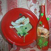 Посуда ручной работы. Ярмарка Мастеров - ручная работа Цветы на красном. Handmade.