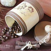 """Для дома и интерьера ручной работы. Ярмарка Мастеров - ручная работа """"Какао с ванилью"""" - банка для сыпучих. Декупаж. Handmade."""