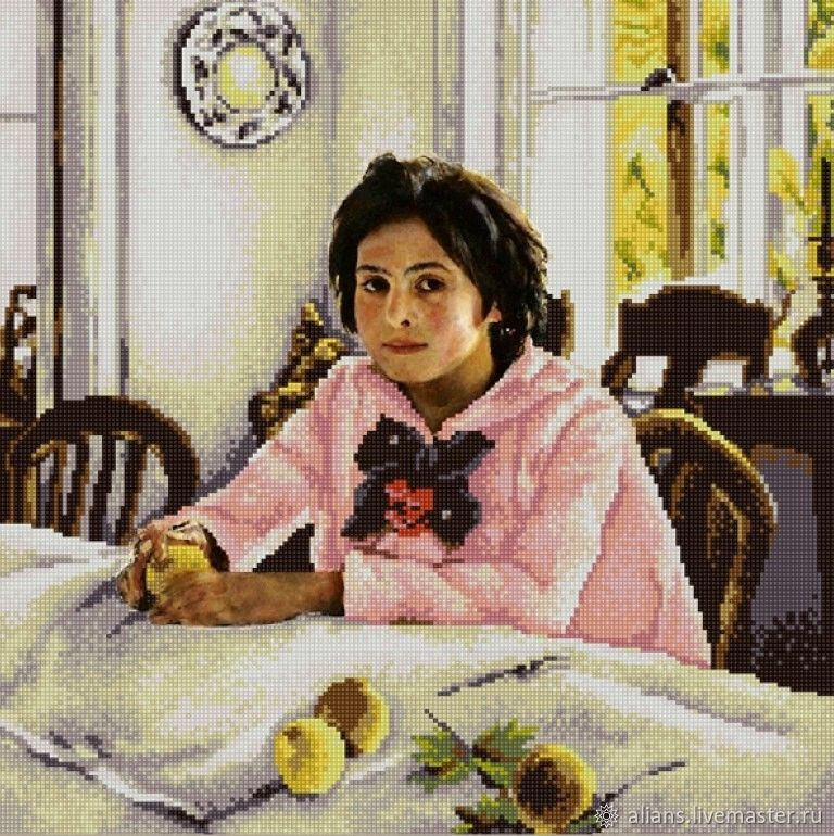 Вышивка ручной работы. Ярмарка Мастеров - ручная работа. Купить Девочка с персиками Набор для вышивания бисером. Handmade. Вышивка бисером