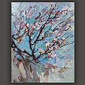 """Картины и панно handmade. Livemaster - original item """"Цветущее абрикосовое дерево """". Картина маслом. Handmade."""