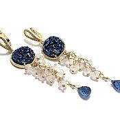 Украшения handmade. Livemaster - original item Long earrings with Topaz and moonstone.. Handmade.