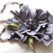Украшения handmade. Livemaster - original item Leather flowers. Decoration brooch pin LAVENDER .Lilac flower. Handmade.