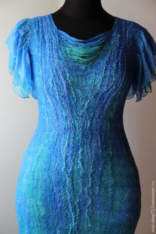 Платья ручной работы. Ярмарка Мастеров - ручная работа. Купить Валяное платье Морская лагуна. Handmade. Абстрактный, валяная одежда