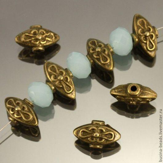 Бусины металлические литые Лампа Алладина в тибетском стиле с покрытием античная бронза для сборки украшений комплектами по 10 бусин