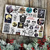 Материалы для творчества handmade. Livemaster - original item Stickers Tim Burton`s Alice, the Nightmare before Christmas. Handmade.