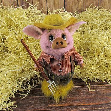 Dolls & toys handmade. Livemaster - original item Pig-farmer Jerome. Handmade.