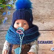 Комплект детский, зимний - Шапка, шарф и варежки.