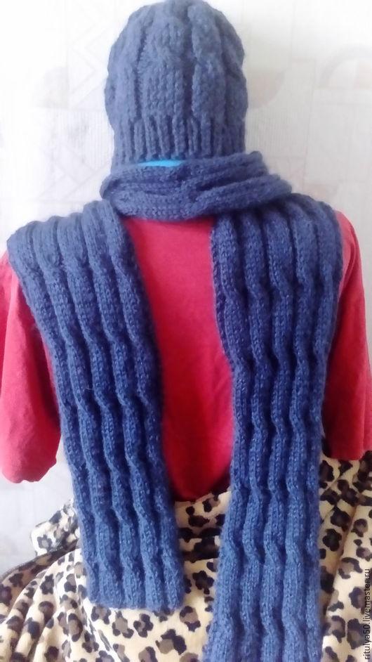Шарфы и шарфики ручной работы. Ярмарка Мастеров - ручная работа. Купить Мужской комплект шапка и шарф вязаные спицами. Handmade.