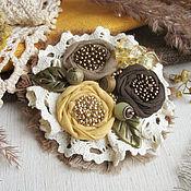 """Украшения ручной работы. Ярмарка Мастеров - ручная работа """"Лимон и шоколад"""" брошь бохо цветок коричневый желтый. Handmade."""